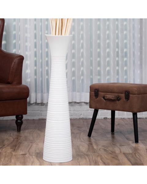 Leewadee Tall Big Floor Standing Vase For Home Decor 90 cm, Mango Wood, white