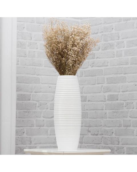 Leewadee Vase à poser au sol - Vase à poser au sol pour branches décoratives, vase haut design en bois de manguier, 41 cm, blanc