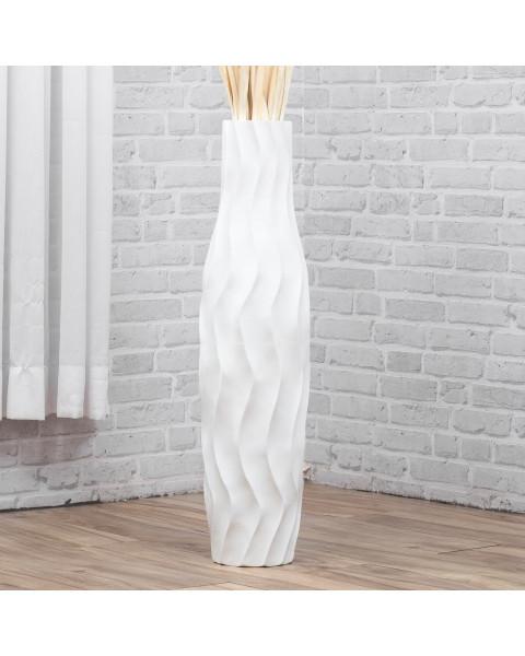 Leewadee Tall Big Floor Standing Vase For Home Decor 30 inches, Mango Wood, white