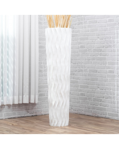 Leewadee Tall Big Floor Standing Vase For Home Decor 112 cm, Mango Wood, white wash