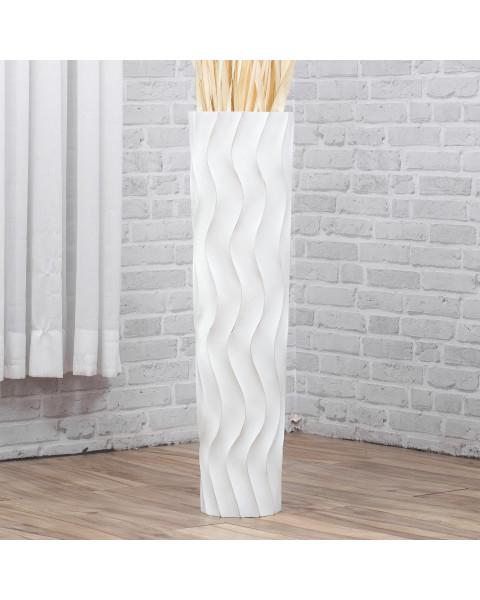 Leewadee Grand vase à poser au sol - Vase à poser au sol pour branches décoratives, vase haut design en bois de manguier, 75 cm, white wash
