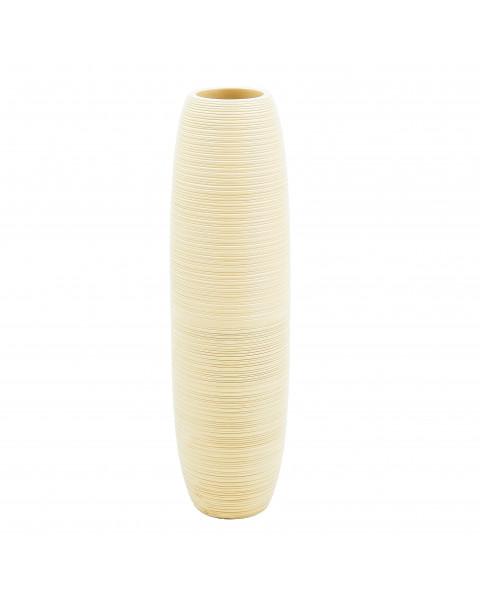Leewadee Tall Big Floor Standing Vase For Home Decor 36 inches, Mango Wood, cream
