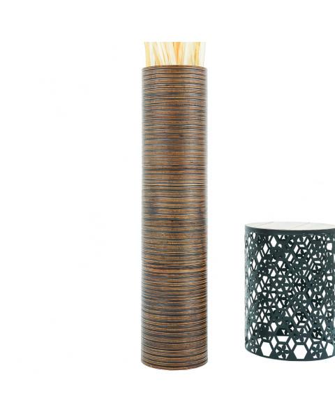 Leewadee Große Bodenvase für Dekozweige hohe Standvase Design Holzvase 112 cm, Mangoholz, braun