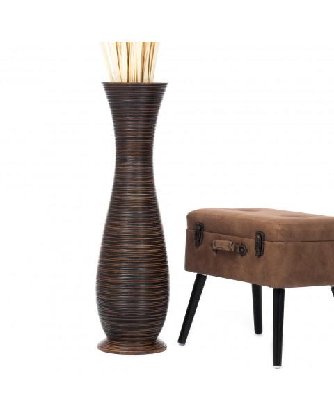 Leewadee Grand vase à poser au sol - Vase à poser au sol pour branches décoratives, vase haut design en bois de manguier, 90 cm, marron