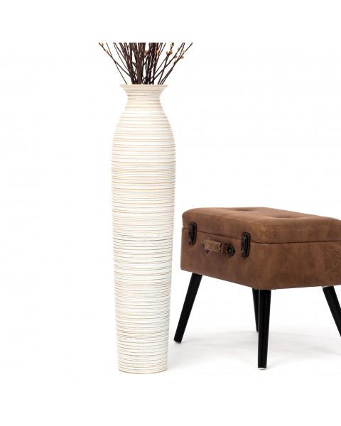 Leewadee Tall Big Floor Standing Vase For Home Decor 90 cm, Mango Wood, white wash
