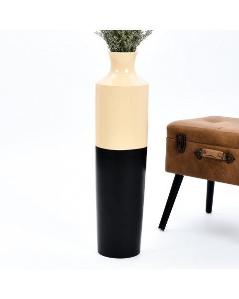 Leewadee Tall Big Floor Standing Vase For Home Decor 30 inches, Mango Wood, black brown