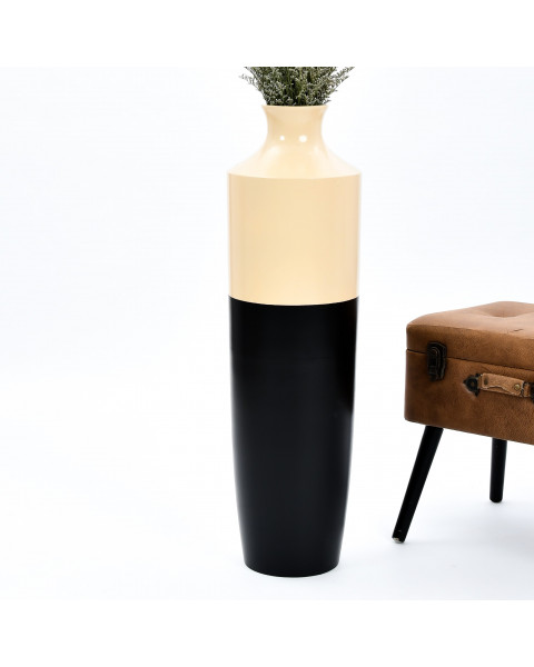 Leewadee Tall Big Floor Standing Vase For Home Decor 36 inches, Mango Wood, black brown