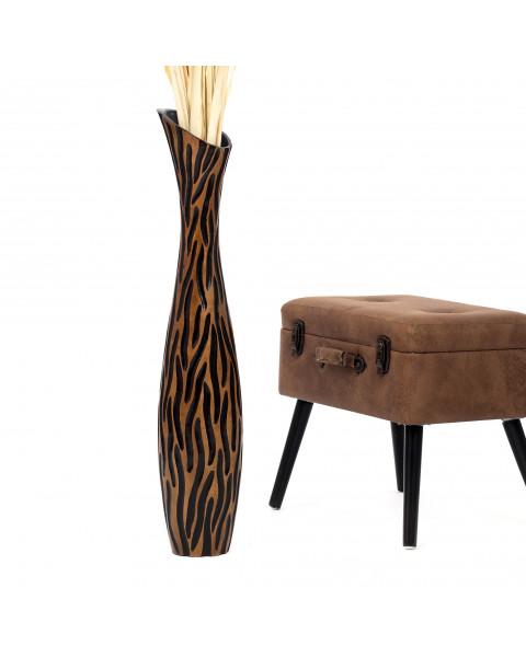 Leewadee Grand vase à poser au sol - Vase à poser au sol pour branches décoratives, vase haut design en bois de manguier, 90 cm, noir marron