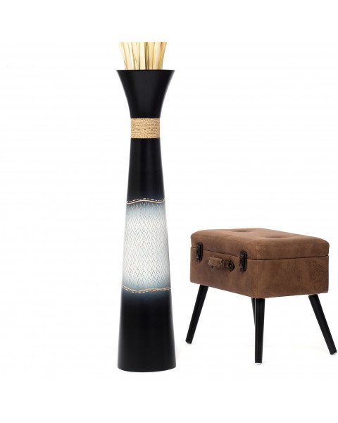 Leewadee Tall Big Floor Standing Vase For Home Decor 112 cm, Mango Wood, black white