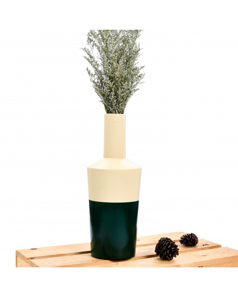 Leewadee Small Floor Standing Vase For Home Decor Centerpiece Table Vase, 6x16 inches, Mango Wood, cream green