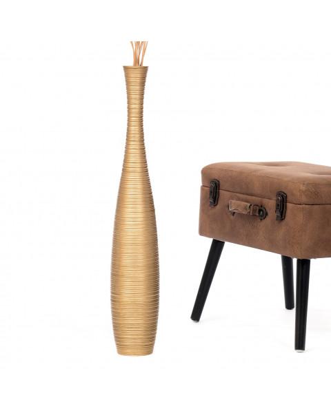 Leewadee Grand vase à poser au sol - Vase à poser au sol pour branches décoratives, vase haut design en bois de manguier, 75 cm, doré