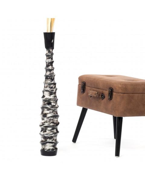 Leewadee Tall Big Floor Standing Vase For Home Decor 75 cm, Mango Wood, black