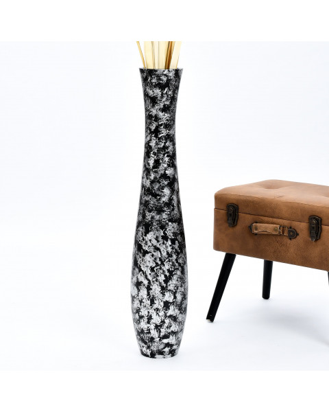 Leewadee Tall Big Floor Standing Vase For Home Decor 36 inches, Mango Wood, black silver-coloured