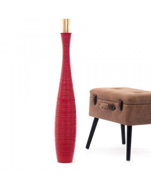 Leewadee Tall Big Floor Standing Vase For Home Decor 90 cm, Mango Wood, red