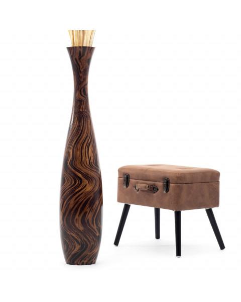 Leewadee Große Bodenvase für Dekozweige hohe Standvase Design Holzvase 112 cm, Mangoholz, braun hellbraun