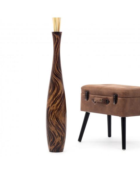 Leewadee Tall Big Floor Standing Vase For Home Decor 90 cm, Mango Wood, brown light brown