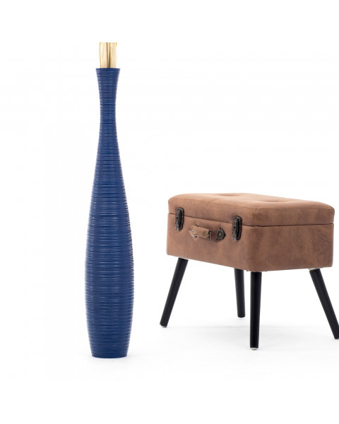 Leewadee Tall Big Floor Standing Vase For Home Decor 90 cm, Mango Wood, blue
