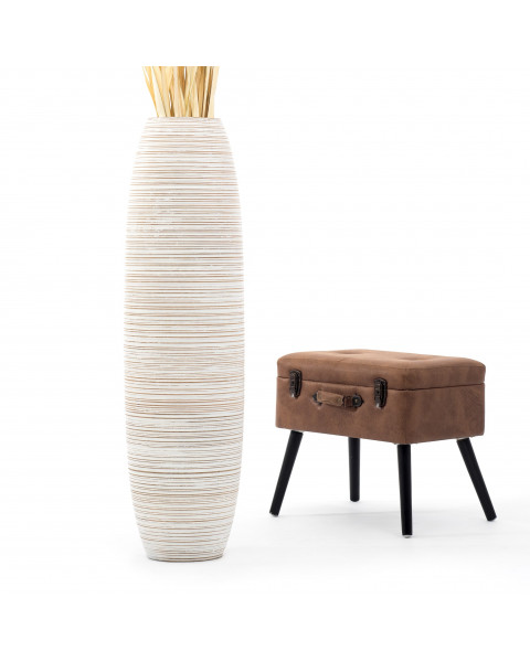 Leewadee Grand vase à poser au sol - Vase à poser au sol pour branches décoratives, vase haut design en bois de manguier, 112 cm, white wash