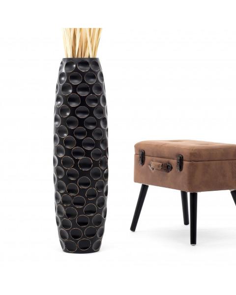 Leewadee Grand vase à poser au sol - Vase à poser au sol pour branches décoratives, vase haut design en bois de manguier, 90 cm, noir