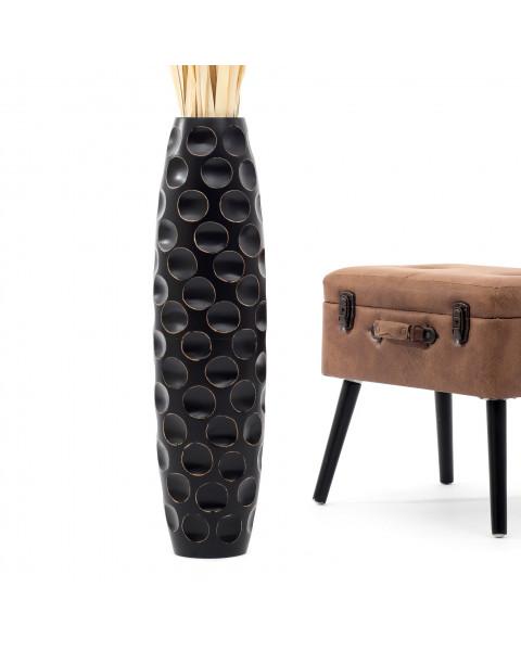 Leewadee Grand vase à poser au sol - Vase à poser au sol pour branches décoratives, vase haut design en bois de manguier, 75 cm, noir