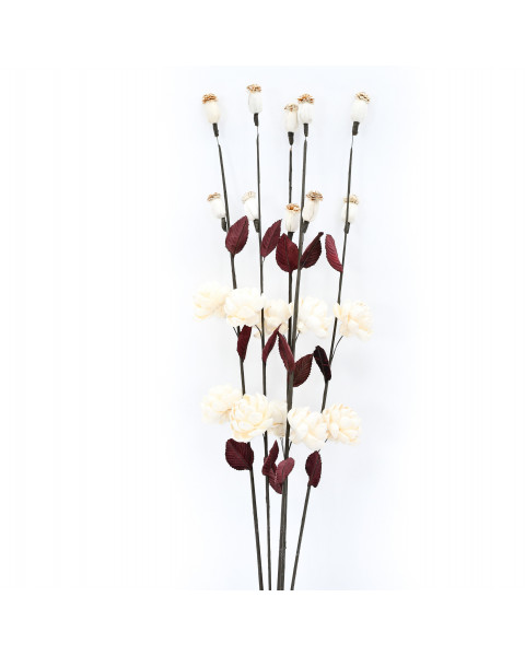 Leewadee Dried coloured palm leaf bunch for floor vases decorative grass twig bunch, 34 inches, Sesbania, ecru
