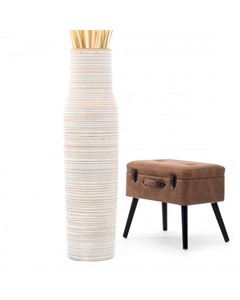 Leewadee Tall Big Floor Standing Vase For Home Decor 44 inches, Mango Wood, white wash