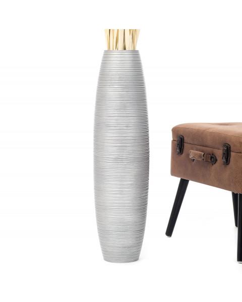 Leewadee Tall Big Floor Standing Vase For Home Decor 75 cm, Mango Wood, silver-coloured
