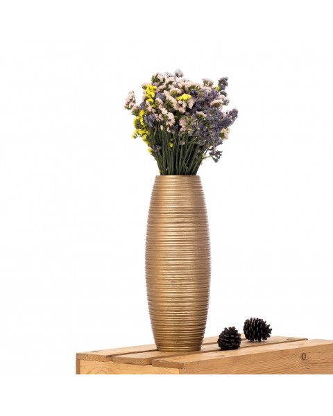 Leewadee Small Floor Vase – Handmade Flower Holder Made of Mango Wood, Sophisticated Vase for Decorative Twigs and Flowers, 16 inches, golden