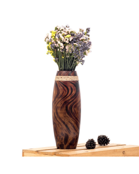 Leewadee Small Floor Standing Vase For Home Decor Centerpiece Table Vase, 15x41 cm, Mango Wood, brown light brown