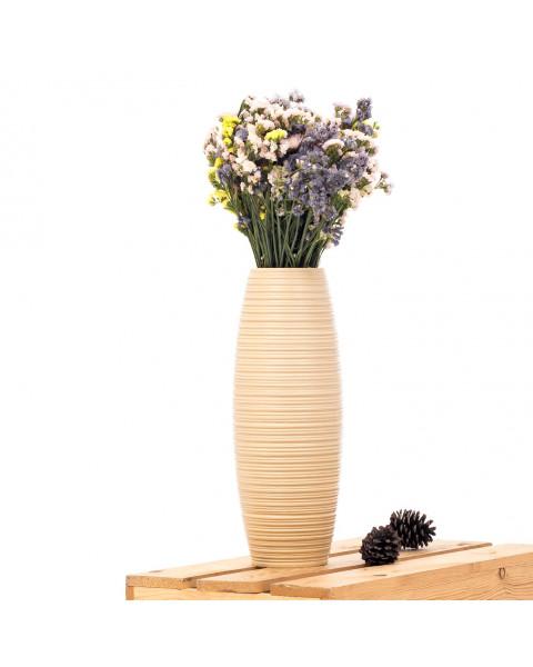 Leewadee Kleine Bodenvase für Dekozweige hohe Standvase Design Holzvase , 15x41 cm, Mangoholz, creme