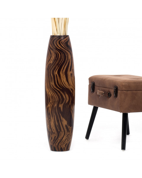 Leewadee Tall Big Floor Standing Vase For Home Decor 75 cm, Mango Wood, brown light brown