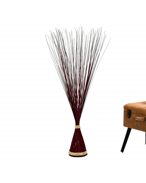 Leewadee Decorative freestanding dried bunch, 47 inches, Dried Natural-Grass, bordeaux
