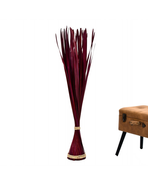Leewadee Decorative freestanding dried bunch, 47 inches, Palm Leaf, bordeaux