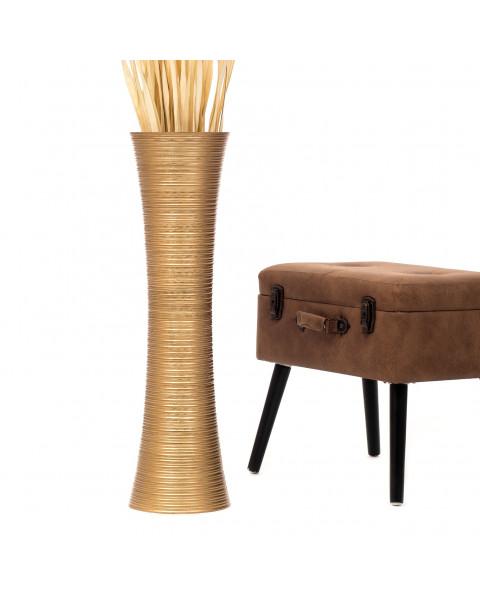Leewadee Tall Big Floor Standing Vase For Home Decor 30 inches, Mango Wood, golden
