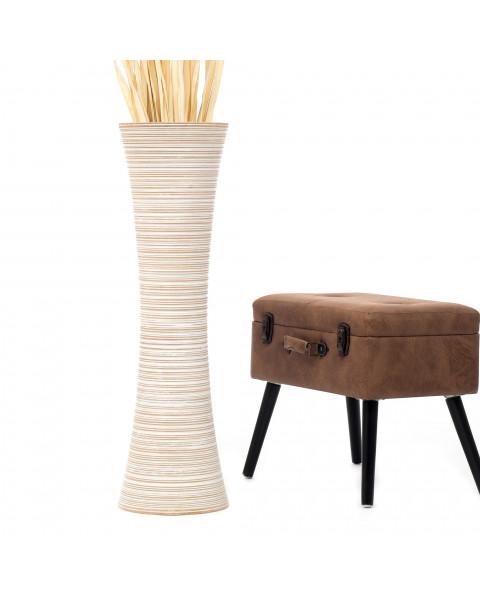 Leewadee Tall Big Floor Standing Vase For Home Decor 36 inches, Mango Wood, white wash