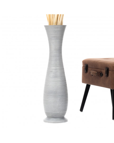 Leewadee Tall Big Floor Standing Vase For Home Decor 30 inches, Mango Wood, silver-coloured