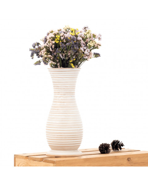 Leewadee Small Floor Standing Vase For Home Decor Centerpiece Table Vase, 6x16 inches, Mango Wood, white wash