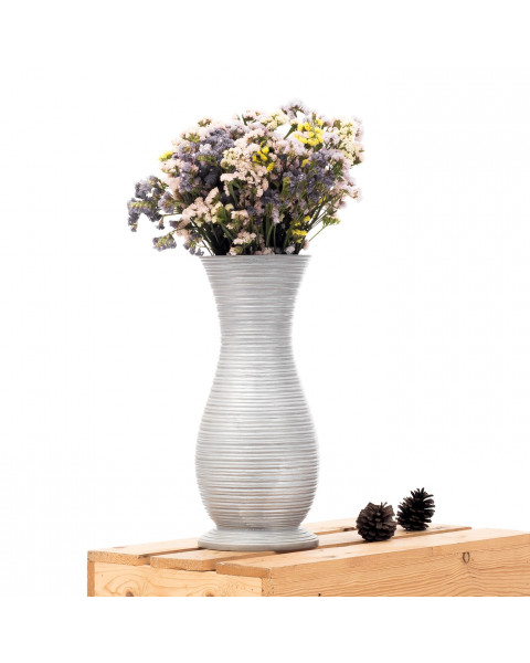 Leewadee Small Floor Standing Vase For Home Decor Centerpiece Table Vase, 6x16 inches, Mango Wood, silver-coloured