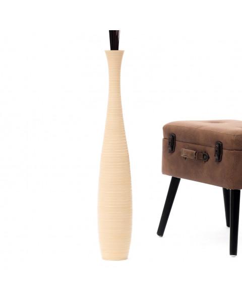Leewadee Tall Big Floor Standing Vase For Home Decor 75 cm, Mango Wood, cream