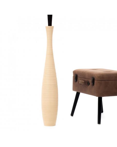 Leewadee Tall Big Floor Standing Vase For Home Decor 90 cm, Mango Wood, cream