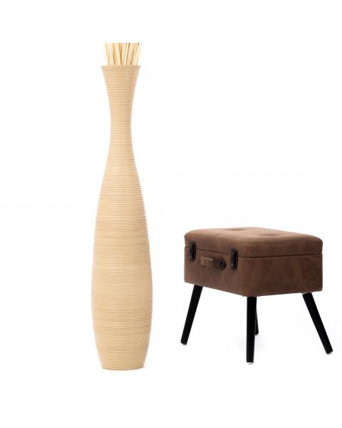 Leewadee Tall Big Floor Standing Vase For Home Decor 112 cm, Mango Wood, cream