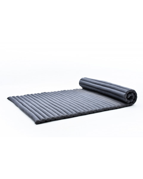Leewadee Roll-Up Thai Mattress Twinsize Guest Bed Yoga Floor Mat Thai Massage Pad Eco-Friendly Organic and Natural, 200x105x5 cm, Kapok, anthracite