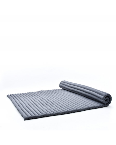 Leewadee Roll-Up Thai Mattress, 79x57x2 inches, Guest Bed Yoga Floor Mat Thai Massage Pad XL Twinsize Eco-Friendly Organic and Natural,  Kapok, anthracite
