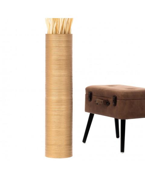 Leewadee Grand vase à poser au sol - Vase à poser au sol pour branches décoratives, vase haut design en bois de manguier, 90 cm, doré