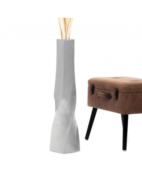 Leewadee Grand vase à poser au sol - Vase à poser au sol pour branches décoratives, vase haut design en bois de manguier, 75 cm, argentin