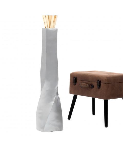 Leewadee Grand vase à poser au sol - Vase à poser au sol pour branches décoratives, vase haut design en bois de manguier, 90 cm, argentin