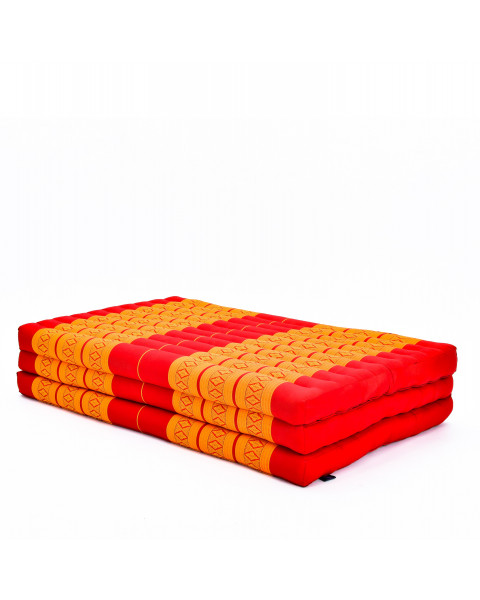 Leewadee Large Foldable Thai Mattress, 200x105x8 cm, Guest Bed Tri-Fold Yoga Floor Mat Thai Massage Pad TV Floor Seat with Backrest Game Chair Eco-Friendly Organic and Natural,  Kapok, orange red