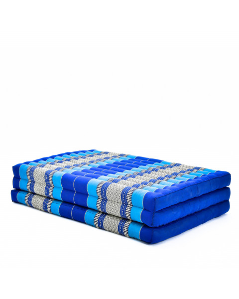 Leewadee Large Foldable Thai Mattress, 200x105x8 cm, Guest Bed Tri-Fold Yoga Floor Mat Thai Massage Pad TV Floor Seat with Backrest Game Chair Eco-Friendly Organic and Natural,  Kapok, blue