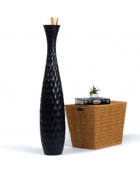 Leewadee Grand vase à poser au sol - Vase à poser au sol pour branches décoratives, vase haut design en bois de manguier, 112 cm, noir
