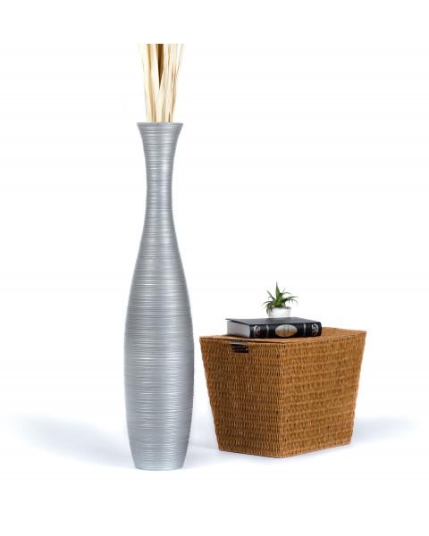 Leewadee Grande Vaso Da Terra Per Rami Decorativi Vaso Alto Da Interno 112 cm, Legno di Mango, argento